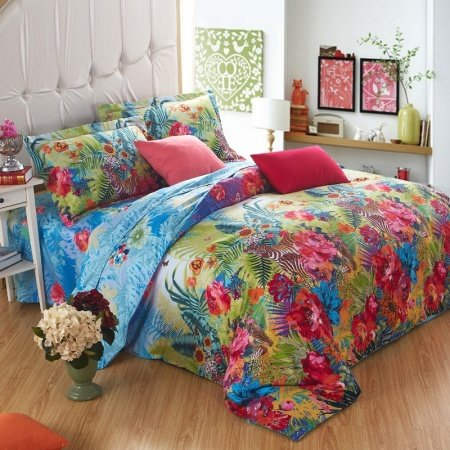 Blue Green and Red French Country Floral and Jungle Themed Zebra Print 100% Cotton Full, Queen Size Bedding Sets