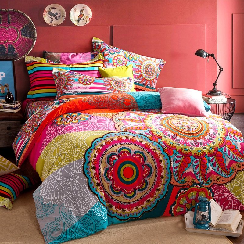 Very Colorful Bedroom: Red Blue And Yellow Colorful Bohemian Tribal Circle Print