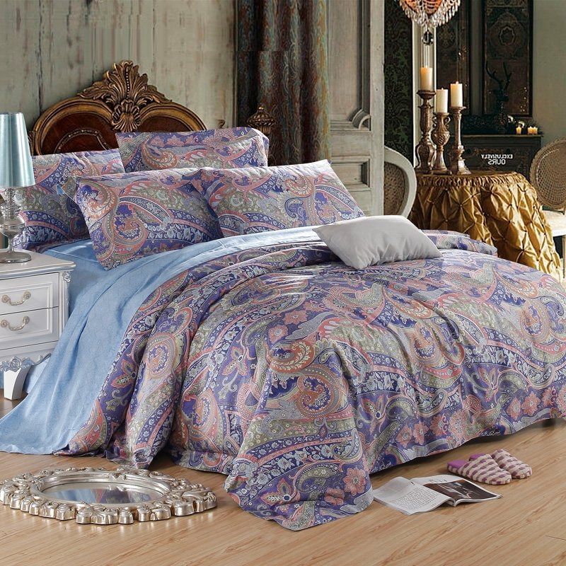 Royal Blue Brown and Grey Houndstooth Paisley Indian Tribal Bohemian Style Luxurious 100% Egyptian Cotton Full, Queen Size Bedding Sets