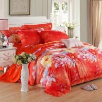 Red Pink and Yellow Gorgeous Romantic Warm Classic Wedding Themed Oriental Flower Garden 100% Egyptian Cotton Full, Queen Size Bedding Sets