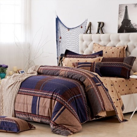 Navy Blue and Brown Retro Grid and Stripe Classic Simply Chic 100% Brushed Cotton Full, Queen Size Bedding sets