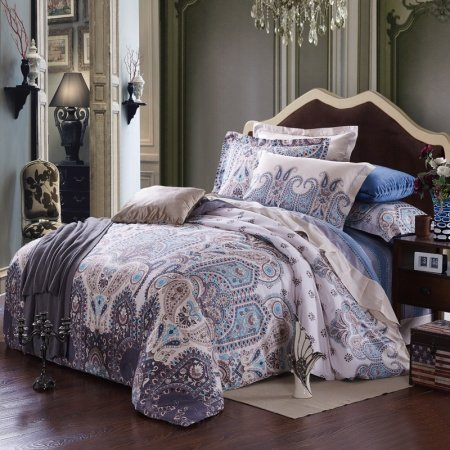 Coffee Light Blue and Grey Royal and Noble Classic Paisley Park Tribal Print Retro Style Western Full, Queen Size Bedding Sets