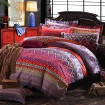 Hot Pink Purple and Rust Orange Chevron Stripe and Paisley Pop Print Bohemian Exotic Tribal Pattern Full Size Bedding Sets