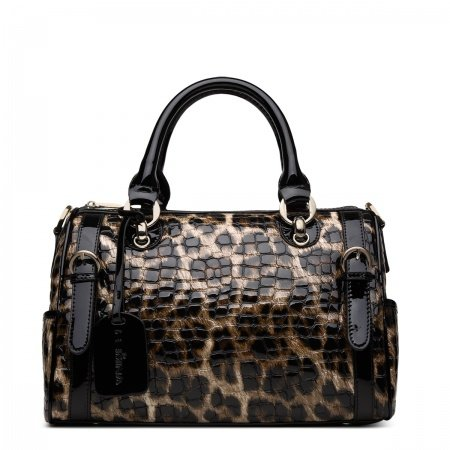 Camel Brown and Black Cowhide Patent Leather Embossed Alligator Crocodile Vogue Leopard Print Party Women Medium Tote Crossbody Boston Bag