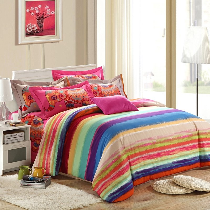 Hot Pink Red and Blue Cute Elephant and Rainbow Pinstripe Print Personalized Girls and Boys Full, Queen Size Bedding Sets