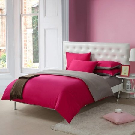 Deep Hot Pink and Gray Solid Pure Color Simply Chic Girls Dorm Room Full, Queen Size Bedding Sets