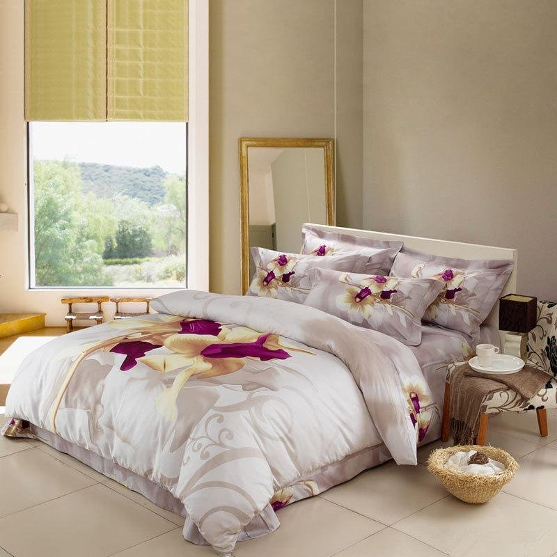 White Purple and Light Tan Rustic Flower Print Full, Queen Size 100% Woven Cotton Bedding Sets