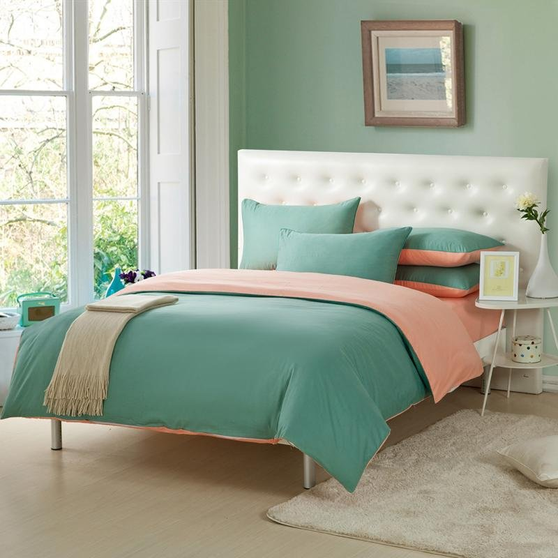 Pine Green and Pink Solid Pure Color Simply Chic Modern Design Full, Queen Size 100% Cotton Bedding Sets