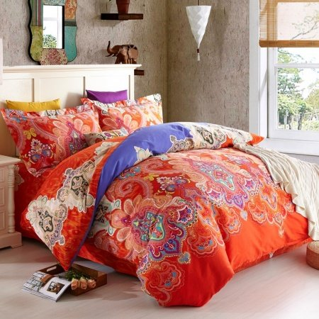 Orange-Red and Royal Blue Western Tribal Print Luxury Paisley and Modern Indian Pattern 100% Egyptian Cotton Full, Queen Size Bedding Sets
