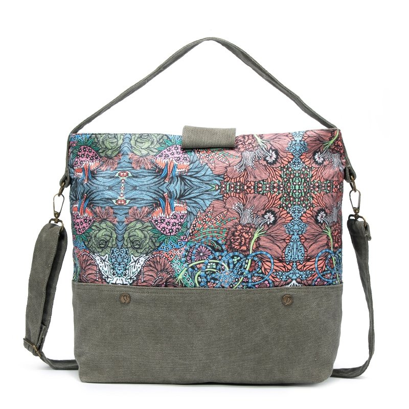 Paris Green Pink and Brown Bohemian Vintage Tropical Floral Print Indian Tribal Pattern Casual Women Travel Bag Crossbody Tote Bag