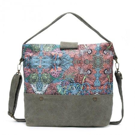 Paris Green Pink and Brown Bohemian Vintage Tropical Floral Print Indian Tribal Pattern Casual Women Travel Bag Crossbody Tote Bag