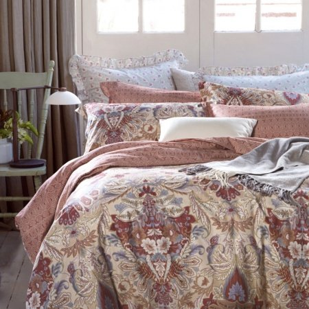 Chocolate and Beige Vintage Byzantine Pattern Tropical Plant Print Shabby Chic Moroccan Style 100% Cotton Damask Full, Queen Size Bedding Sets