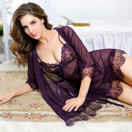 Deep Byzantium Purple Women 3 Piece Floral Embroidered Lace Tassel Sexy See-through Grenadine Seductive V-neck Night-Robe Thong Pajamas