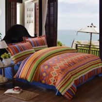 Rust Orange Navy and Yellow Modern Aztec Stripe Print Diamond Pattern Unique Moroccan Style 100% Cotton Damask Full, Queen Size Bedding Sets