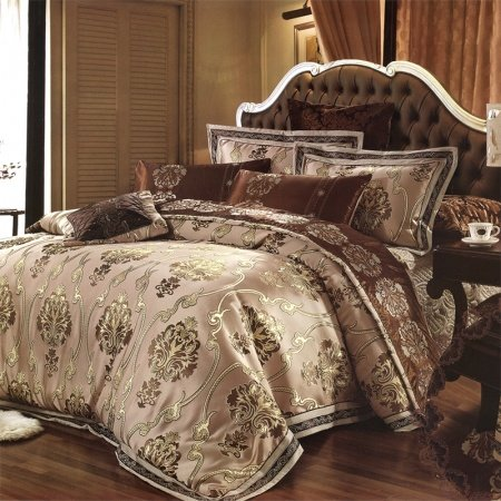 Brown Tan and Royal Gold Gothic Pattern Retro Style Moroccan Themed Noble Excellence Luxury Expensive 100% Cotton Satin Queen Size Bedding Sets