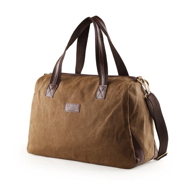 Coffee Brown Canvas Casual Travel Purse Contracted Vogue Fine Crossbody Bag Vintage Applique Zipper Boys Men Large Single Shoulder Tote Bag