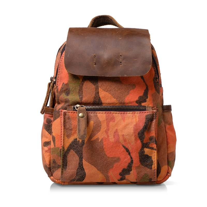 Orange-red Brown Canvas Travel Bag Durable Korean Preppy Style Satchel Backpack Trendy Personalized Camouflage Zipper Girl Small School Bag