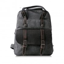 Charcoal Gray and Black Canvas Leather Backpack Retro England Style Contracted Casual Zipper Leather Belt Boys Men Medium Vogue Travel Bag
