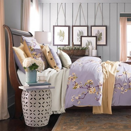 Lilac and Yellow Plum Flower Print Country Chic Rustic Style Simply Vintage Soft Durable 100% Cotton Damask Full, Queen Size Bedding Sets