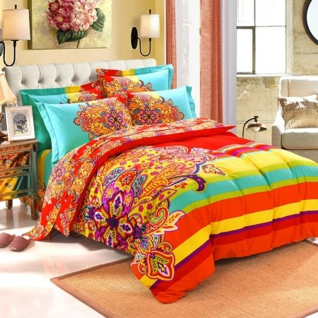 Red Yellow and Light Turquoise Colorful Exotic Bohemian Style Western Paisley Unique 100% Brushed Cotton Full, Queen Size Bedding Sets