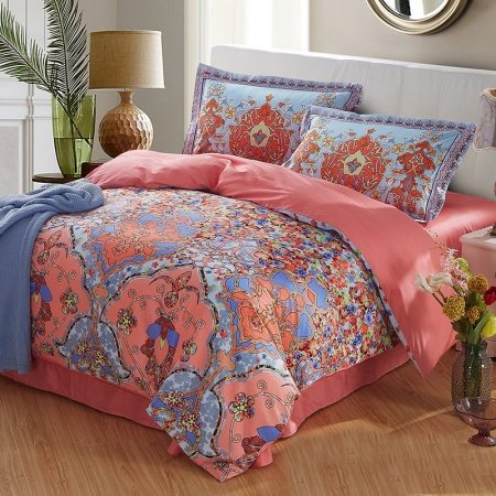 Coral Light and Blue Folklore Flower Print Exotic Persian Style Country Chic 100% Cotton Damask Full, Queen Size Bedding Sets