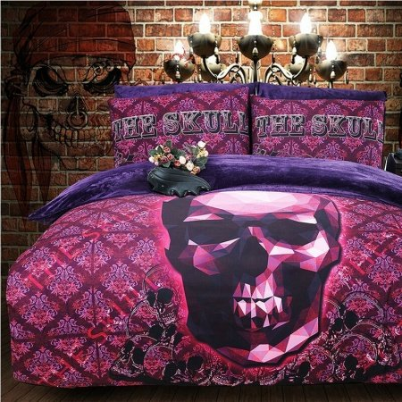 Ruby and Deep Purple Skull Print Tribal Plaid Hipster Style Abstract Design Flannel Full, Queen Size Bedding Sets