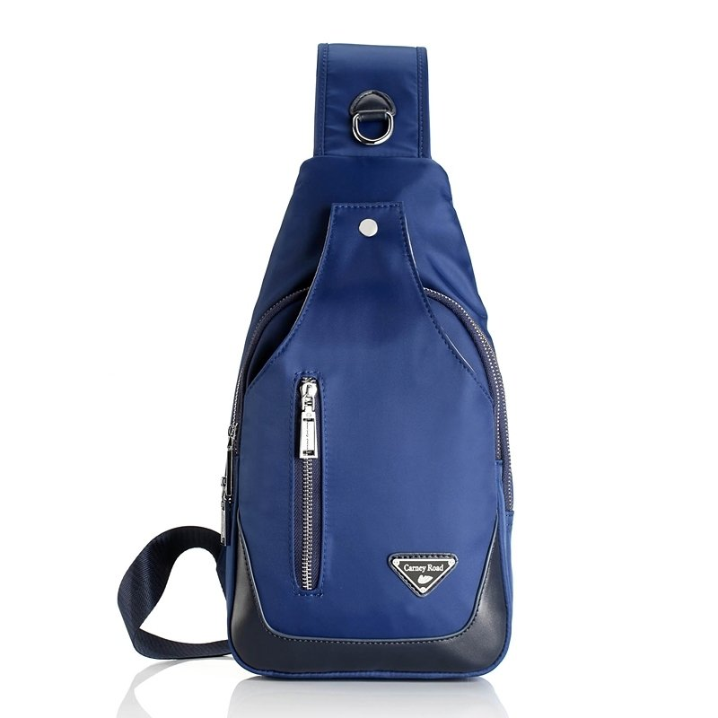 Steel Blue and Black Color Blocking Luxury Water-proof Crossbody Chest Pack Korean Style Quilted Men Casual Travel Bosom Bag