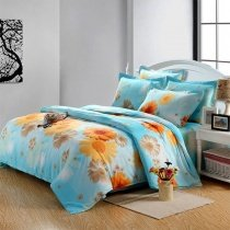 Light Blue and Orange Bright Colorful Sunflower Print Country Chic Nature Kids 100% Cotton Toile 4 Pieces Twin, Full Size Bedding Sets