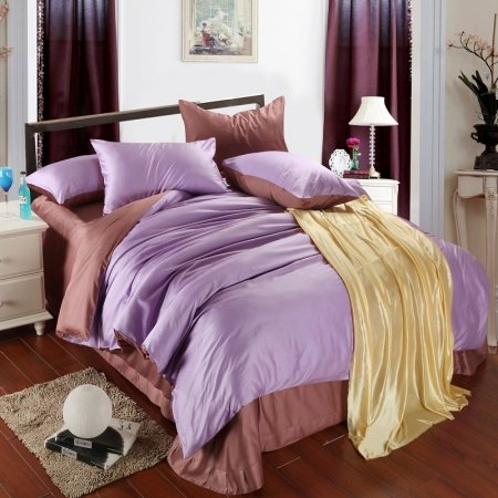 Plain Colored Light Purple and Coffee Color Block with Solid Colored Sheet Simply Personalized Adult 100% Tencel Full, Queen Size Bedding Sets