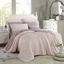 Light Pink and Thistle Pure Colored Luxury Simply Chic Cute Style Girls Bedroom 100% Modal Tencel Lyocell Full, Queen Size Bedding Sets