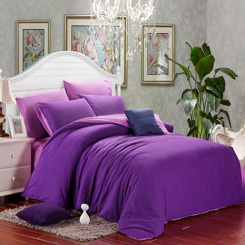 Plain Violet and Solid Lilac Fashion Noble Excellence Simply Chic Western Style Unique Brushed All Cotton Girls Full, Queen Size Bedding Sets
