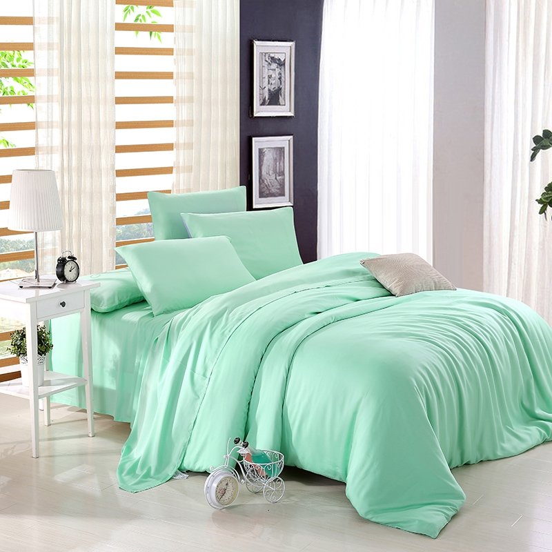Bright Mint Plain Colored Luxury and Expensive Noble Excellence Simply Chic Unique Girls Microfiber Tencel Full, Queen Size Bedding Sets