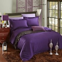 Deep Purple Plain Colored Vintage Simply Chic Western Style Unique Reversible Percale Fabric 100% Cotton Damask Full, Queen Size Bedding Sets