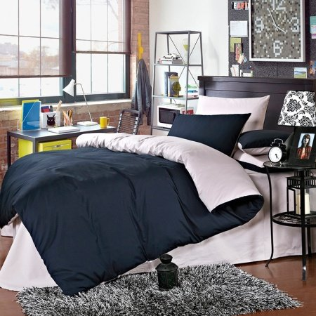 Dark Blue and Silver Plain Colored Simply Chic Western Style Microfiber 100% Cotton Percale Fabric Mens Full, Queen Size Bedding Sets