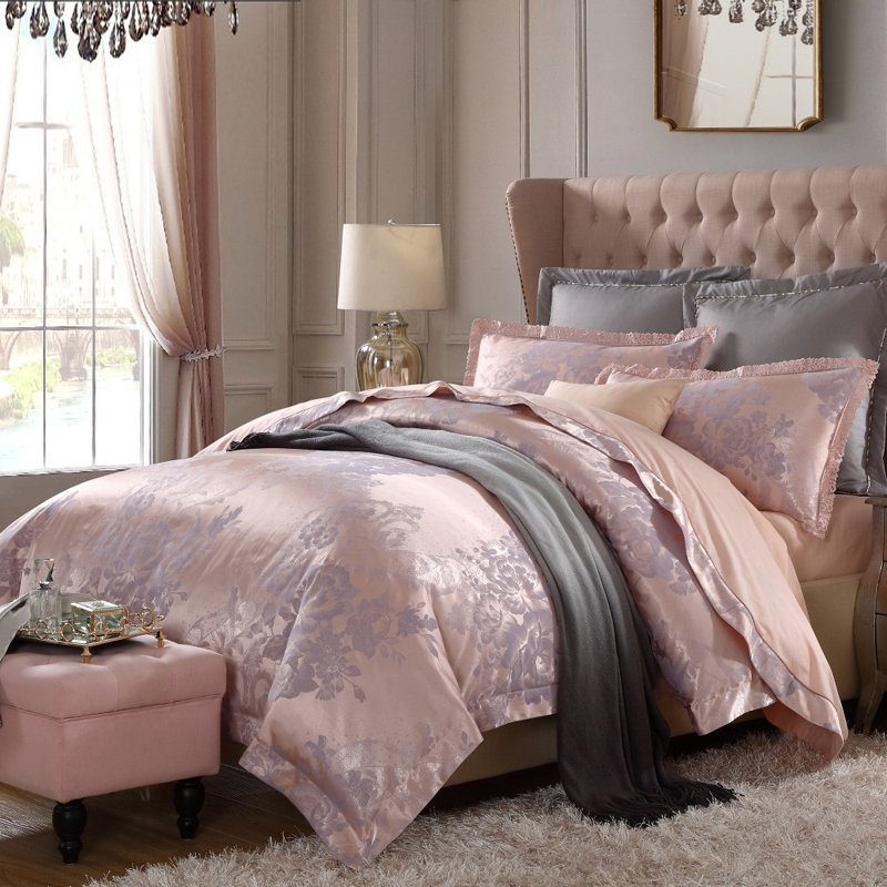 Champagne and Grey Vintage Look Flower Pattern Old World Style Jacquard Design Full, Queen Size Sequin Bedding Sets