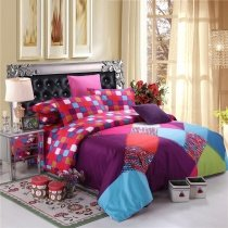 Purple Red and Aqua Blue Colorful Patchwork Style Shabby Chic Western Style 100% Cotton Damask Full, Queen Size Bedding Sets