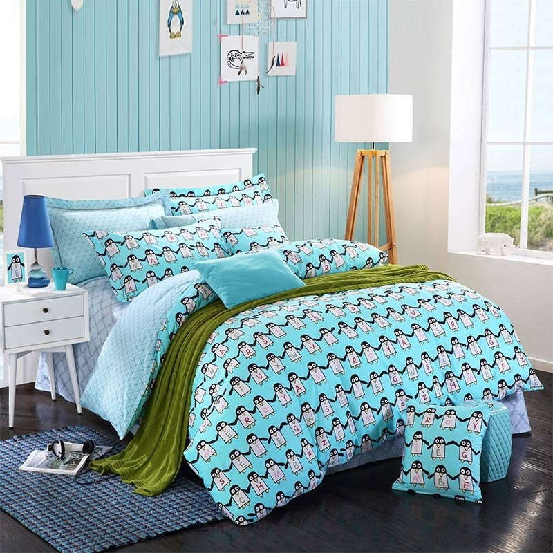 Aqua Blue Black and White Penguins Print Animal Theme 100% Cotton Twin, Full Size Bedding Sets for Kids, Boys and Girls