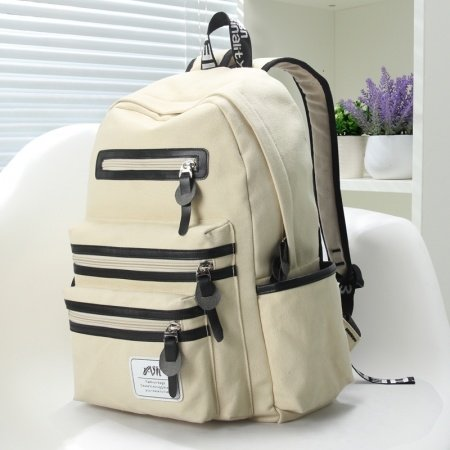 Beige Canvas with Black Leather Trim Water-proof Preppy Style Cute Girls School Backpack Color Blocking Sewing Pattern Travel Bag