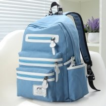 Light Blue Canvas with White Leather Trim Vogue Cute Contracted Color Blocking Girls School Backpack Trend Quilted Travel Bag
