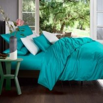 Luxury Solid Teal Pure Color Simply Chic Reactive Printed 800 Thread Count 100% Egyptian Cotton Girls Full, Queen Size Bedding Sets