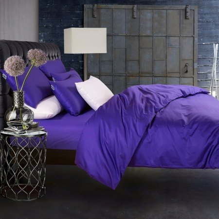 Luxury All Violet Pure Colored Simply Chic Western Style 800 Thread Count 100% Egyptian Cotton Full, Queen Size Bedding Sets