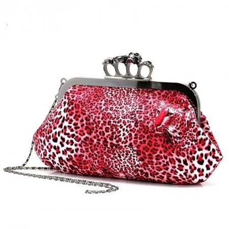 Crimson Red and White Faux Leather Leopard Print Skull Ring Magnet Buckle Clutch Bag Elegant Socialite Party Wedding Lady Evening Bag