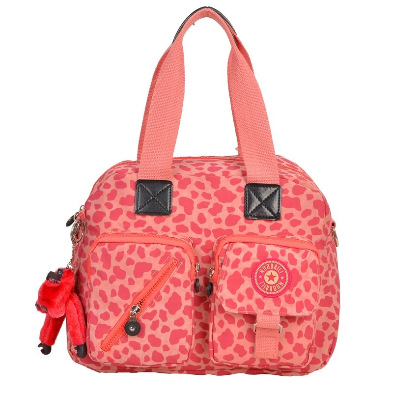 Coral Red and Peach Pink Water-proof Nylon Crossbody Shoulder Bag Luxury Leopard Print Casual Sewing Pattern Women Motorcycle Purse