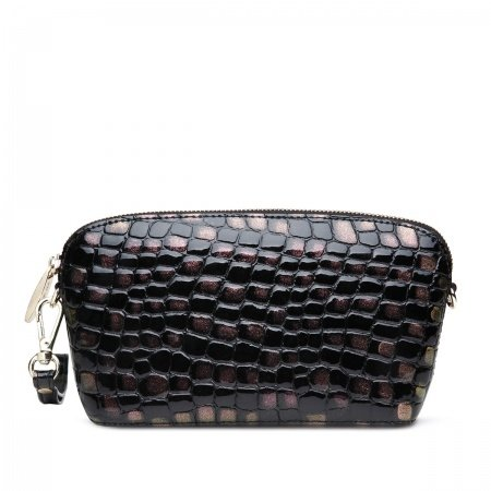 Copper Brown Black Cowhide Genuine Leather Embossed Crocodile Evening Clutch Handle Bag Elegant Casual Party Chain Sea Shell Crossbody Bag