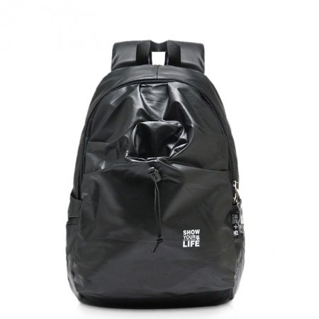 Plain Black Fine Preppy Style Junior School Book Bag Durable Water-proof Oxford Korean Style Casual Outdoor Travel Backpack