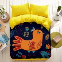 Orange Red Turquoise and Deep Blue Vintage Bird Hipster Style 100% Polyester Twin, Full Size Bedding Sets for Kids