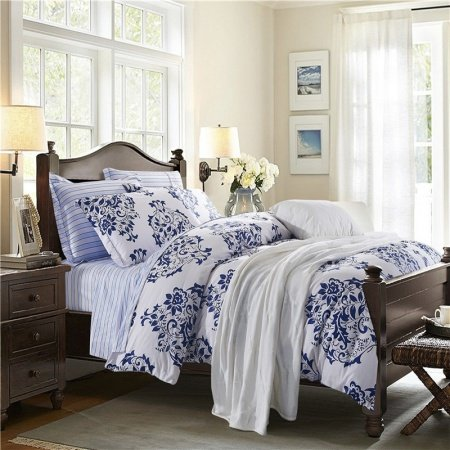 Navy Blue and White Victorian Pattern Flower Print Abstract Design Hotel Style 100% Cotton Twin, Full Size Bedding Sets