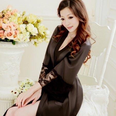 Women Girls Lady Cute Breathable Sexy 100% Polyester Night-Robe Bathrobe Black Gown Pajamas