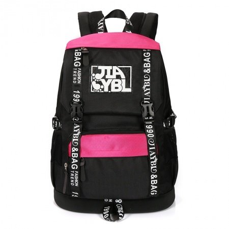Durable Oxford Stylish Japanese Style Casual Travel Backpack Black White Red Monogrammed Sewing Pattern Junior Flap School Bag