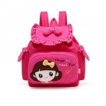 Magenta Red Canvas with Ruched Cotton Girls Head Bow Polka Dot Print Flap School Backpack Vogue Cute Diamond Book Bag